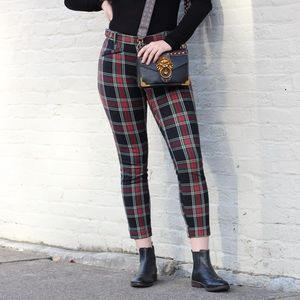 GAP Mid Rise Red Plaid Skinny Ankle Pants
